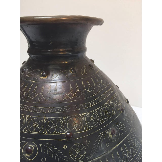 Copper Large Indian Hand-Hammered Copper Jug With Asian Carvings For Sale - Image 7 of 13