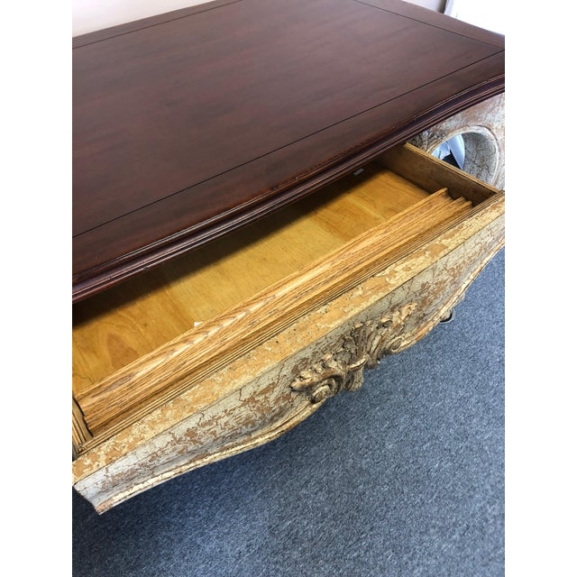 Louis XVI Romantic Distressed Carved and Painted Wood Desk With Rich Cherry Top For Sale - Image 3 of 13