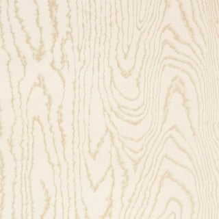 Sample - Schumacher Faux Bois Wallpaper in Sand Shimmer For Sale