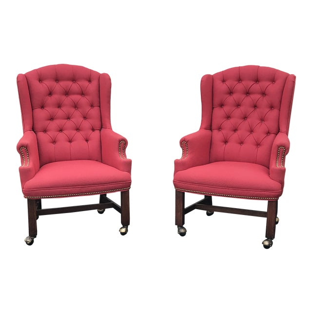 Red Upholstered Wingback Chairs - a Pair For Sale