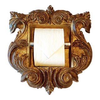 """Italian Baroque Style Bathroom Paper Holder in """"Amadeo"""" Brownstone Finish by Judson Rothschild for The Rothschild Collection For Sale"""