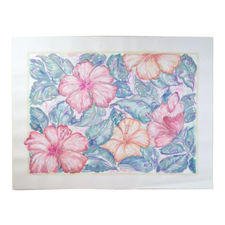 Large Pink & Peach Hibiscus Flowers Color Pastel Drawing #4 by Patricia McGeeney For Sale