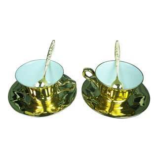 1960s Mid-Century Japanese 24 Karat Gold Glazed Cups, Saucers & Plated Spoons Tea Set of 6 For Sale