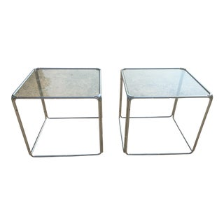 Set of 2 - Milo Baughman Style Stackable Chrome Cube End Tables Coffee Table