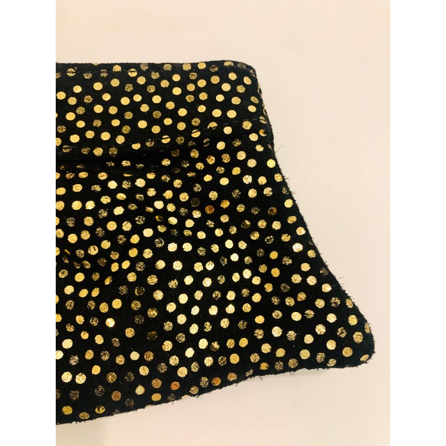 Leather Lauren Merkin 1980s Style Black Suede Clutch With Metallic Gold Polka Dots For Sale - Image 7 of 8
