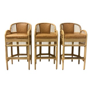 Set of 3 Chippendale Style Bamboo Bar Stools- 6 Available For Sale