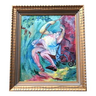 Original Vintage Painting Girl on Swing With Bike For Sale