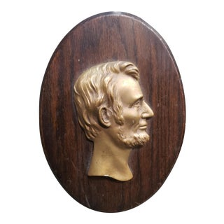 Mid 20th Century Abraham Lincoln Brass on Wood Raised Relief Portrait Plaque For Sale