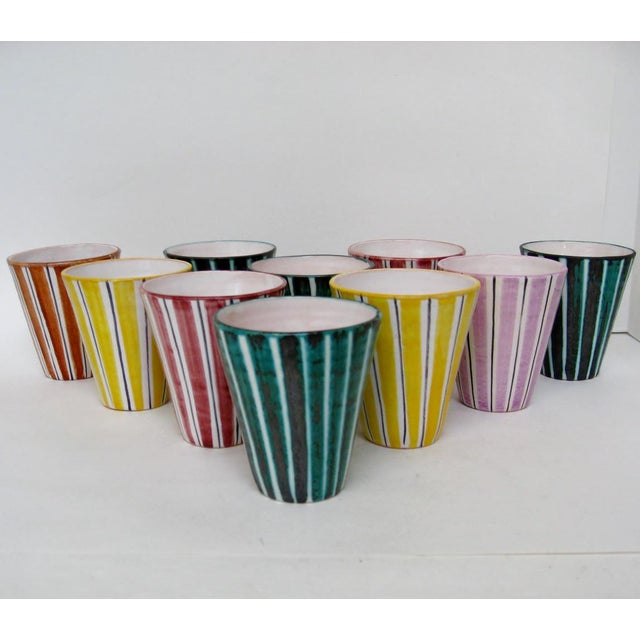 Italian Ceramic Pitcher With Cups - 11 Pieces - Image 4 of 9