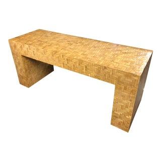 Organic Modern Herringbone Split Bamboo Console Table For Sale