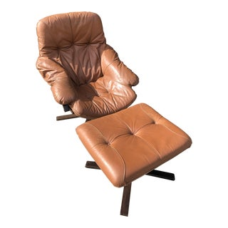 Mid-Century Brown Leather Lounge Chair and Ottoman