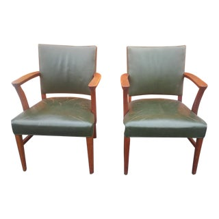Vintage Leather Gunlocke Armchairs - A Pair For Sale