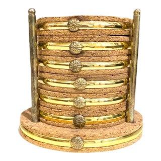 Vintage Brass and Cork Coaster Set - Set of 7 For Sale