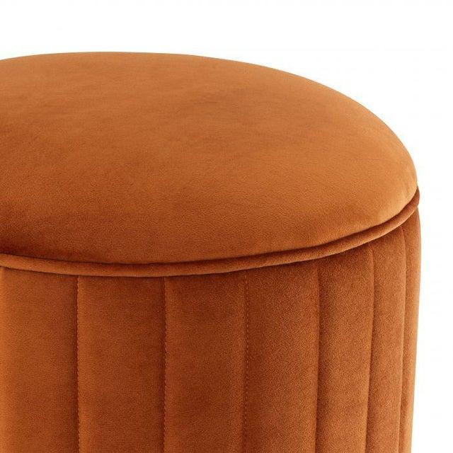 Art Deco Eichholtz Allegra Orange Velvet Stool For Sale - Image 3 of 5