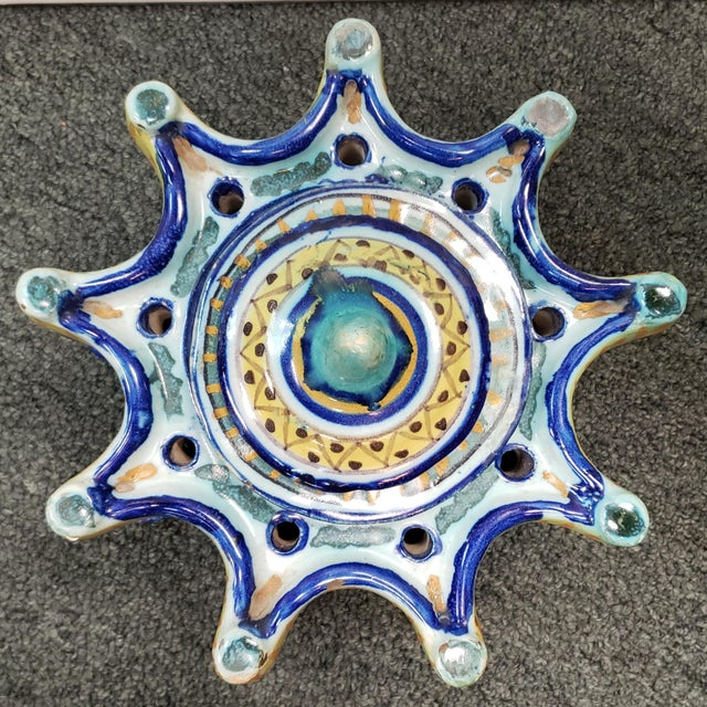 """Up for sale is a Circa 1900 Spanish Talavera Faience Pottery Inkwell! It measures 6"""" tall, 7 3/4"""" wide, and 7 3/4"""" deep...."""