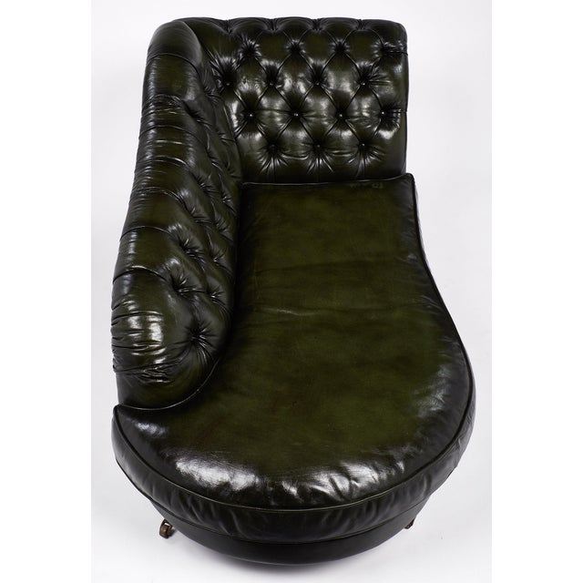 Animal Skin Vintage Green Tufted Leather Méridienne For Sale - Image 7 of 9