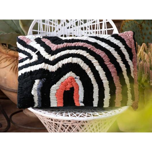 Berber Tribes of Morocco Moroccan Vintage Boucherouite Rug Throw Pillow in Black, White, Pink, Grey - 28 For Sale - Image 4 of 4