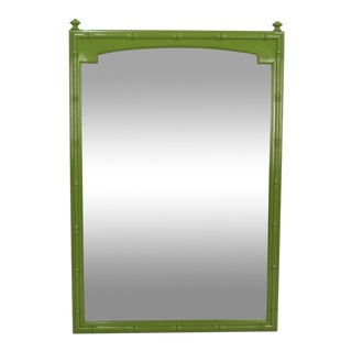 Mid Century Apple Green Faux Bamboo Mirror For Sale