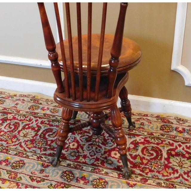 Orange Antique Maple & Walnut Victorian Era Windsor Piano Chair Stool c1900 For Sale - Image 8 of 9
