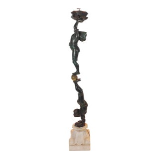 Bronze Acrobatic Boys Lamp For Sale