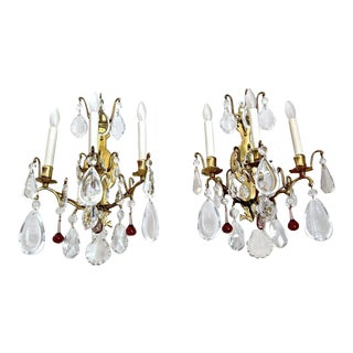 French Louis XV Style Crystal Brass Wall Light Sconces - a Pair For Sale