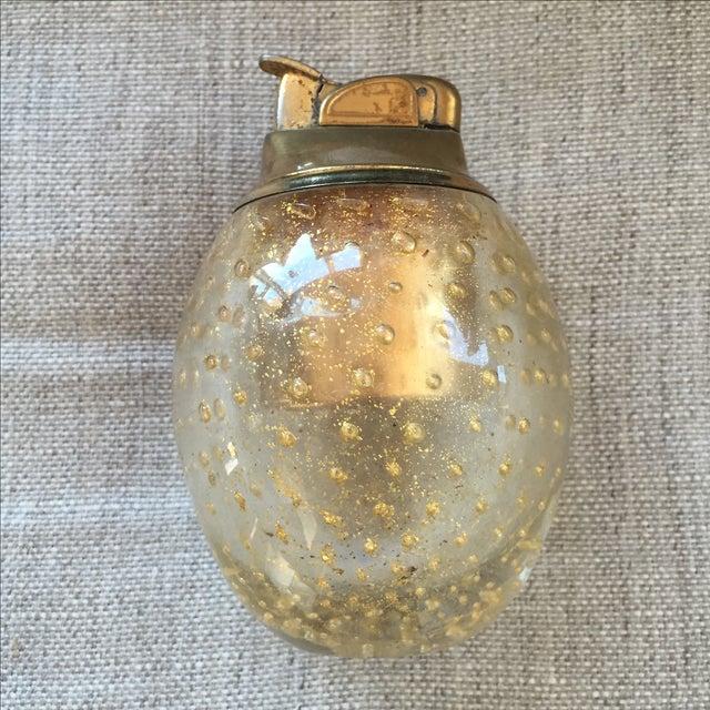 Italian Vintage Murano Glass Gold Lighter For Sale - Image 3 of 7