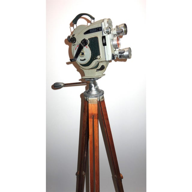 1956 Austrian Motion Picture Camera on Wood Tripod Vintage Perfect Display For Sale - Image 12 of 12