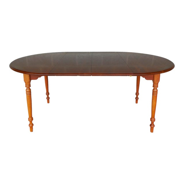 L. Hitchcock Cherry Harvest Stenciled Dining Extension Table - Image 1 of 10