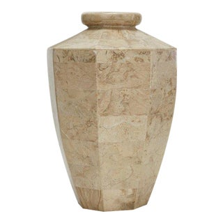 "1990s Tall Tessellated Cantor Stone ""Octagon"" Flower Vase For Sale"
