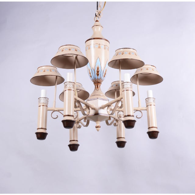 Vintage Chandelier With Six Lamp Holders With Shades For Sale - Image 10 of 10