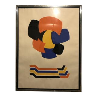 """Mid-Century Modern Abstract """"Golden Zephyr"""" Lithograph For Sale"""