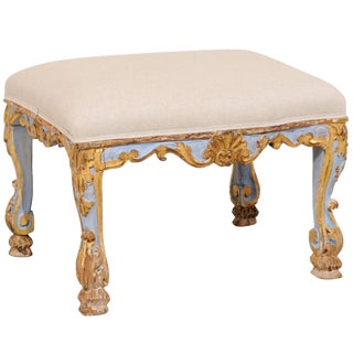 18th Century Italian Period Rococo Carved, Gilded & Painted Wood Stool For Sale