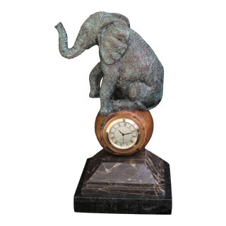 Maitland Smith Brass Elephant Clock With Marble For Sale