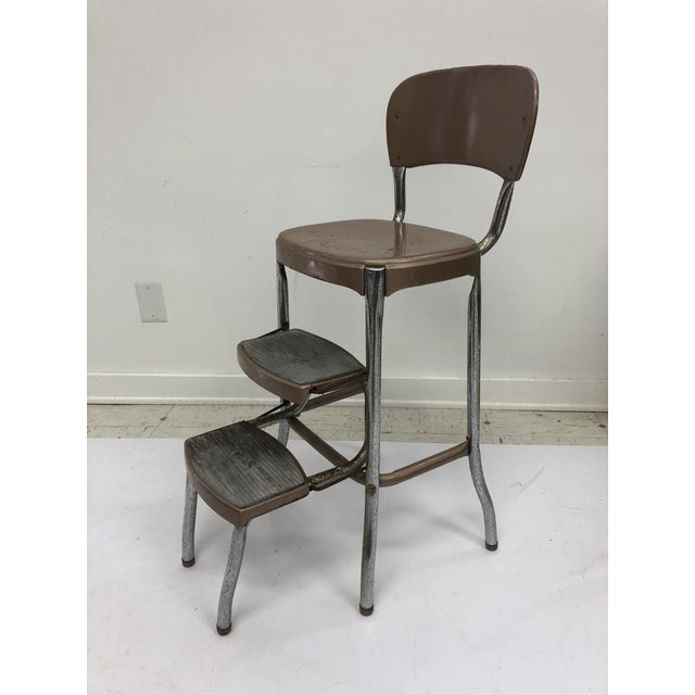 Prime Vintage Mid Century Brown Metal Step Stool By Cosco Pabps2019 Chair Design Images Pabps2019Com