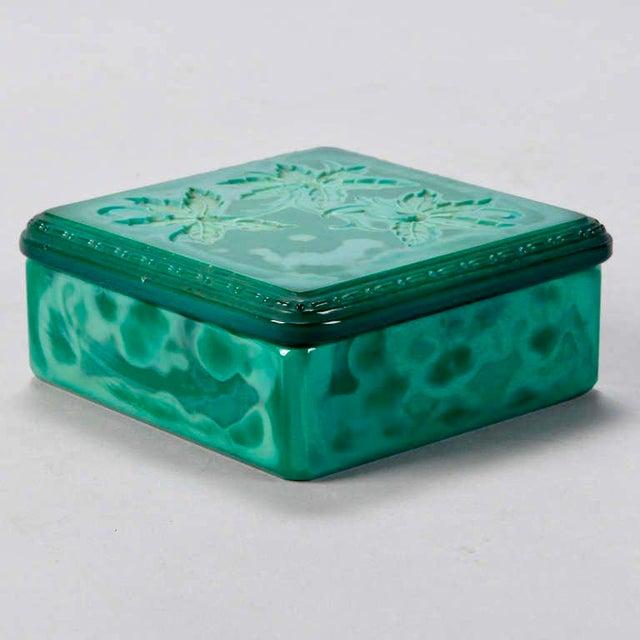 Art Deco Bohemian Czech Square Malachite Glass Box For Sale - Image 4 of 6