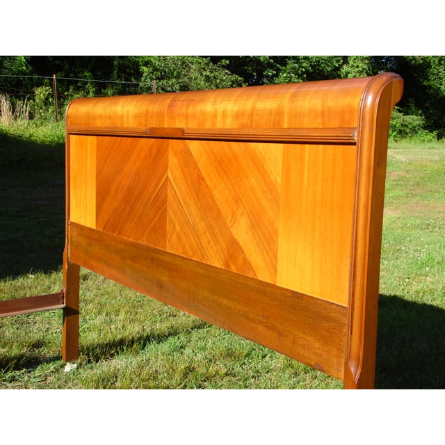 1930s Vintage Art Deco Walnut Full Double Waterfall Bed For Sale - Image 5 of 12