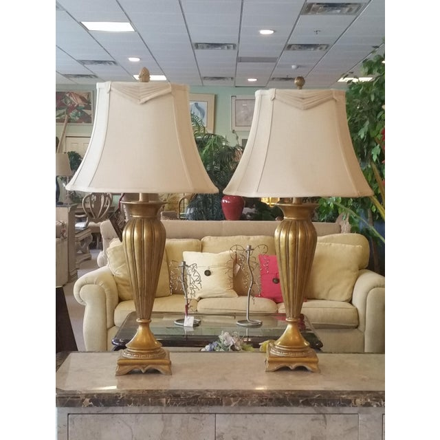 Pair of Gold and Ivory Table Lamps - Image 2 of 4