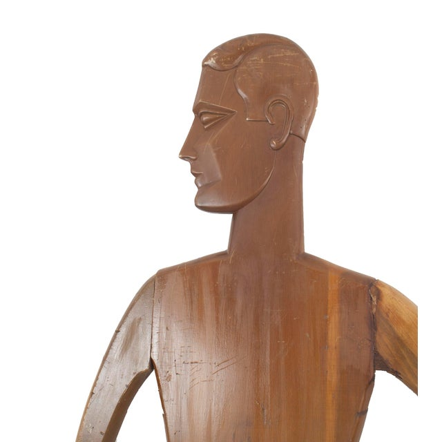 2 American Art Deco stained pine mannequin panel figures of man and woman with arms akimbo (PRICE EACH) (2 similar CER086A)