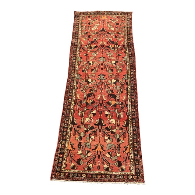 """1960's Vintage Persian Hamadan Thick & Heavy Runner 3'3""""x9'4"""" For Sale"""