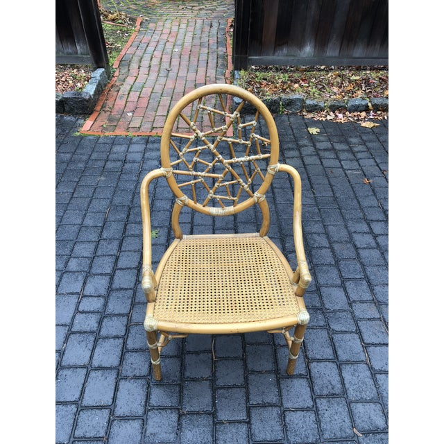 Vintage McGuire Palm Cushion Cracked Ice Rattan Chair - Image 7 of 11