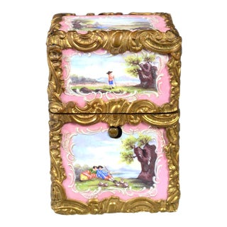 French enamel perfume casket, top and front panels with landscape scenes, the interior with 4 original bottles, Circa 1880-1900