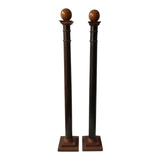 Tall Decorative Wood Columns - a Pair For Sale
