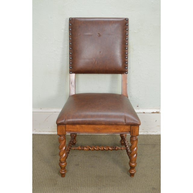 Stanley Barley Twist Brown Leather Dining Chairs - Set of 6 For Sale In Philadelphia - Image 6 of 13