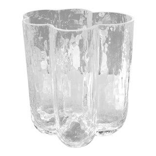 Spectacular Textured Crystal Vase Signed For Sale