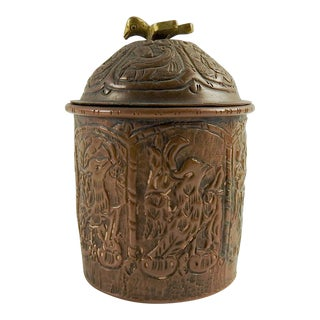 Copper Repousse Hand Made Lidded Box For Sale