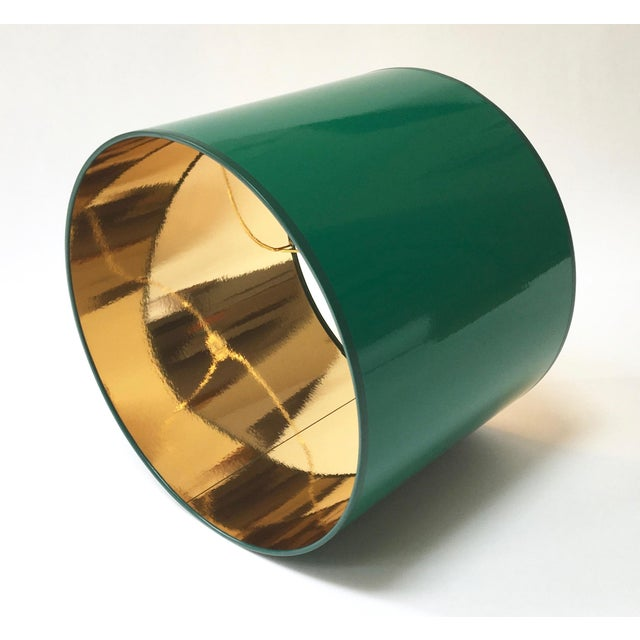 Lampshade Designs Large High Gloss Dark Green Drum Lamp Shade With Gold Lining For Sale - Image 4 of 6