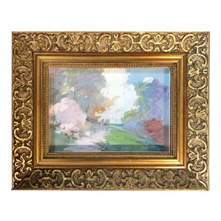 Frederick Lincoln Stoddard (1861-1940) Colorful Landscape W/ Figures C.1920 For Sale