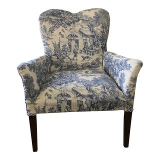 Vintage Heart Back Toile and Gingham Children's Chair For Sale