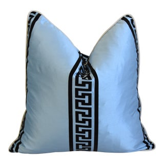 "Blue Dupioni Satin Silk Greek Key Feather/Down Pillow 23"" Square For Sale"
