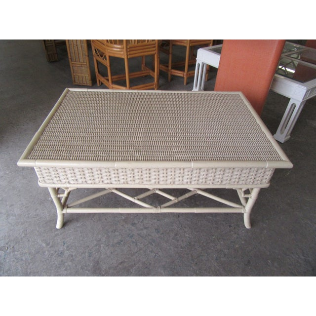 1970s Chippendale Wicker Coffee Table For Sale - Image 4 of 6